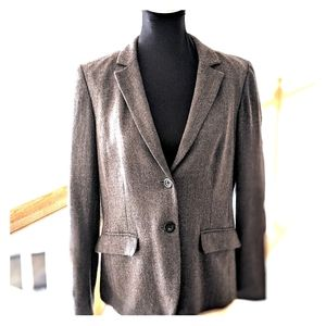 J Crew brown tweed blazer, women's size 12